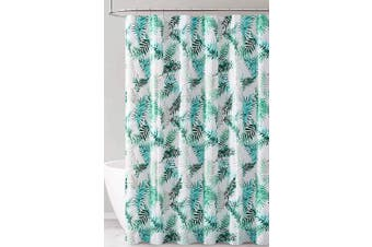 (Green Blue and White Tropical Leaf Design) - PEVA Shower Curtain Liner Odourless, PVC and Chlorine Free, Biodegradable, Mildew Free, Eco-Friendly Size 72L (Green Blue and White Tropical Leaf Design)
