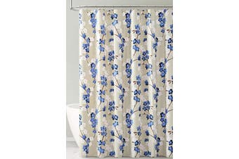 (Navy White and Taupe Floral Design) - PEVA Shower Curtain Liner Odourless, PVC and Chlorine Free, Biodegradable, Mildew Free, Eco-Friendly Size 72L (Navy White and Taupe Floral Design)