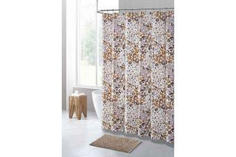 (Brown Gray Taupe and White Jungle Cheetah Animal Print) - PEVA Shower Curtain Liner Odourless, PVC and Chlorine Free, Biodegradable, Mildew Free, Eco-Friendly Size 72L (Brown Grey Taupe and White Jungle Cheetah Animal Print)