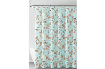 (Aqua White and Brown Floral Design) - PEVA Shower Curtain Liner Odourless, PVC and Chlorine Free, Biodegradable, Mildew Free, Eco-Friendly Size 72L (Aqua White and Brown Floral Design)
