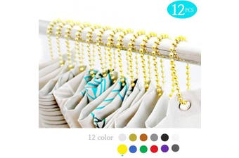 (Gold) - BallchainAge Shower Curtain Hooks, Shower Curtain Rings 12pcs, spa-Quality Look-Gold