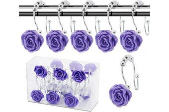(Rose hooks, Purple) - BEAVO Rose Shower Curtain Hooks,12 Pcs Double Glide Shower Curtain Rings Stainless Steel Rustproof Decorative Shower Hook Ring with Resin Rose Flower for Bathroom Shower Rods(Purple)