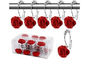 (Rose hooks, Red) - BEAVO Rose Shower Curtain Hooks,12 Pcs Double Glide Shower Curtain Rings Stainless Steel Rustproof Decorative Shower Hook Ring with Resin Rose Flower for Bathroom Shower Rods (Red)