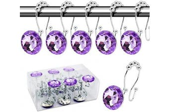 (Crystal hooks, Purple) - BEAVO Decorative Shower Curtain Hooks,12 Pcs Double Glide Shower Curtain Rings Stainless Steel Rustproof Shower Hook Ring with Acrylic Crystal Rhinestones for Bathroom Shower Rods Curtains and Liner