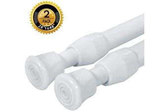 (70cm  - 120cm -2PCS, White) - 2PCS Spring Curtain Rods 70cm - 120cm Shower Tension Rod White Spring Curtain Rod Adjustable Curtain rod Expandable Curtain Rod Pressure Curtain Rod Spring Loaded Curtain Rods Bars Tensions Rod