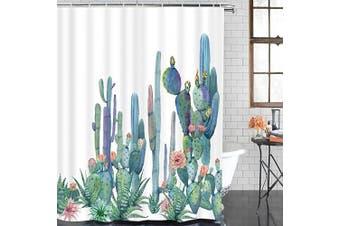(210cm  L × 180cm  W, Multi) - Alishomtll Bathroom Shower Curtain Tropical Cactus Shower Curtains with 12 Hooks, Succulent Cactus Bath Curtain Durable Waterproof Fabric Bathroom Curtain (Cactus, 84 L × 69 W inches)