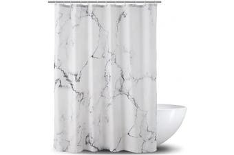 (Grey 2) - Adwaita Heavy Duty Waterproof Fabric Bathroom Shower Curtain Bath Curtain Weighted 100% Polyester, Machine Washable - 180cm x 180cm with White and Grey Marble Design (Grey 2)
