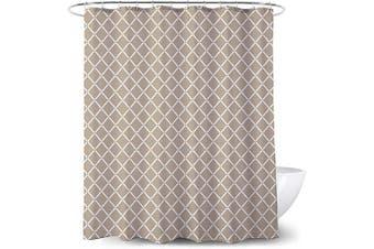 (Brown) - Adwaita Heavy Duty Waterproof Fabric Bathroom Shower Curtain Bath Curtain Weighted 100% Polyester, Machine Washable - 180cm x 180cm with Brown Geometric Design(Brown)
