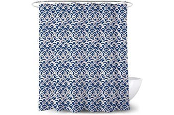 (Navy Blue) - Adwaita Heavy Duty Waterproof Fabric Bathroom Shower Curtain Bath Curtain Weighted 100% Polyester, Machine Washable - 180cm x 180cm with White and Blue Geometric Design (Navy Blue)