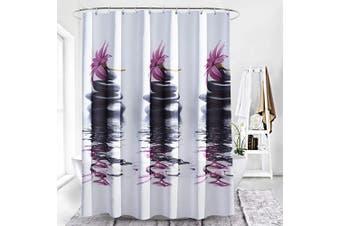 (White Purple) - Adwaita Heavy Duty Waterproof Fabric Bathroom Shower Curtain Bath Curtain Weighted 100% Polyester, Machine Washable - 180cm x 180cm with Purple Flower Design (White Purple)