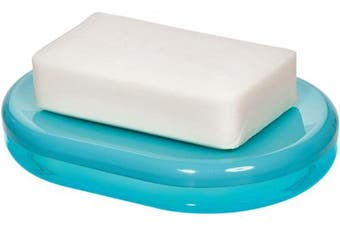 (Soap Dish, Teal and White) - iDesign Finn Countertop Bar Dish, Plastic Soap Holder for Bathroom, Shower, Vanity, Teal and White