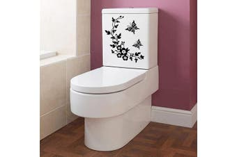 (Butterfly Flower) - BIBITIME Toilet Stickers Funny 2 Butterflies Flower Vine Decor for Lavatory Cover Art Removable Quote