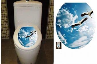 (Sky Bird) - BIBITIME Blue Sky White Cloud Couple Birds Bathroom Toilet Seat Cover Decals Sticker Vinyl Toilet Lid Decal Decor Decal,33cm x 39cm