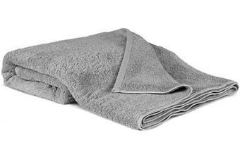 (Oversized Bath Sheet - 100cm  x 200cm , Gray) - 100% Luxury Turkish Cotton, Eco-Friendly, Soft and Super Absorbent Oversized 40'' x 80'' Bath Sheet (Grey, 1 Piece)