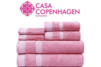 (6 Pcs set, Pink) - CASA COPENHAGEN Solitaire Luxury Hotel & Spa Quality, 600 GSM Premium Cotton, 2 Piece Bath Sheet Set, Malibu Peach Size - 90cm x 180cm