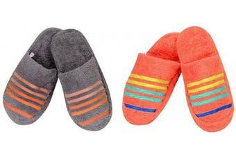 (2pairs Combo Slippers, Frost Grey::orange) - CASA COPENHAGEN 2pairs Combo Terry Cotton Cloth Bath/Spa Slippers One Size Fits Most, Frost Grey & Orange