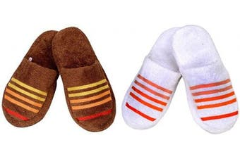 (2pairs Combo Slippers, Toffee::white) - CASA COPENHAGEN 2pairs Combo Terry Cotton Cloth Bath/Spa Slippers One Size Fits Most, Toffee & Snow White