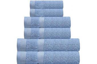 (6 Pcs set, Skyway-c) - CASA COPENHAGEN Solitaire Luxury Hotel & Spa Premium Quality, 600 GSM Premium Cotton, 6 Piece Turkish Towel Set, Includes 2 Bath Towels, 2 Hand Towels, 2 Washcloths, Skyway