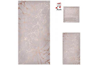 (Marble) - Naanle Trendy Rose Gold Marble Print Soft Luxury Decorative Set of 3 Towels, 1 Bath Towel+1 Hand Towel+1 Washcloth, Multipurpose for Bathroom, Hotel, Gym, Spa and Beach