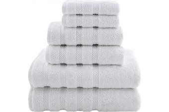 (6-Piece Towel Set, White) - American Soft Linen Premium, Luxury Hotel & Spa Quality, 6 Piece Kitchen & Bathroom Turkish Genuine Cotton Towel Set, for Maximum Softness & Absorbency, [Worth $72.95] Bright White