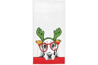 (Dog Basset) - Pfrewn Christmas Dog Hand Towels 41cm x 80cm Dog Basset Hound Santa's Antler Reindeer Glasses Bathroom Towel Ultra Soft Highly Absorbent Small Bath Towel Winter Xmas Bathroom Kitchen Decor Gifts
