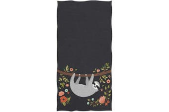 (Sloth) - Naanle Happy Sloth on Tree Branch Print Soft Highly Absorbent Large Decorative Hand Towels Multipurpose for Bathroom, Hotel, Gym and Spa (41cm x 80cm ,Black Floral)
