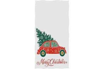 (Christmas Tree&truck) - Naanle Christmas Style Cute Truck Car with Christmas Tree Snowflake Print Guest Towel Soft Eco-Friendly Guest Hand Towels Multipurpose for Bathroom, Hotel, Gym and Spa (41cm x 80cm ,White)