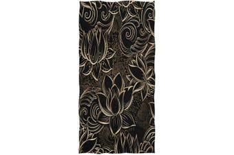 (Lotus Flower) - Naanle Boho Luxurious Gold Lotus Flowers Print Soft Highly Absorbent Large Decorative Hand Towels Multipurpose for Bathroom, Hotel, Gym and Spa (41cm x 80cm ,Black)