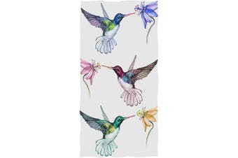 (Hummingbirds Floral) - AGONA Beautiful Colourful Hummingbirds Floral Hand Towels Absorbent Soft Face Towels Large Decorative Bath Towels Multipurpose for Bathroom Kitchen Gym Yoga 80cm x 38cm