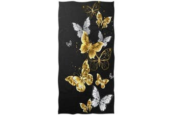 (Gold Butterfly) - AGONA Gold White Butterflies Black Hand Towel Ultra Soft Absorbent Fingertip Towels Large Decorative Bath Towels Multipurpose for Kitchen Gym Yoga Spa 80cm x 38cm