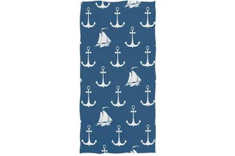 (Anchor) - Naanle Stylish Anchor Sailboat Pattern Soft Large Hand Towels Multipurpose for Bathroom, Hotel, Gym and Spa (41cm x 80cm ,Navy Blue)