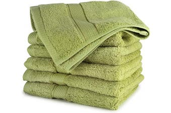 (6-Piece, Green) - Cosy Homery Luxury Hand Towels - 6-Piece Towel Set Green - 100% Organic Natural Egyptian Cotton 650 GSM - Multipurpose Use for Bath, Hand, Face, Gym and Spa