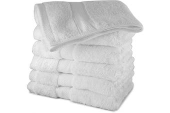 (6-Piece, White) - Cosy Homery Luxury Hand Towels - 6-Piece Towel Set White - 100% Organic Natural Egyptian Cotton 650 GSM - Multipurpose Use for Bath, Hand, Face, Gym and Spa