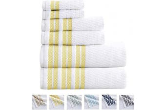 (6 Piece Set, Lemon) - Great Bay Home 6-Piece Towel Set. 100% Cotton Popcorn Textured Striped Bathroom Towels. Quick Dry and Absorbent Towels. Set Includes 2 Bath, 2 Hand, and 2 Wash. Elham Collection. (6 Piece, Lemon)