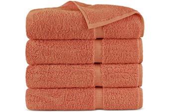 (Bath Towels - Set of 4, Coral) - Indulge Linen 100% Cotton Turkish Towel Set (Coral, Bath Towels - Set of 4)