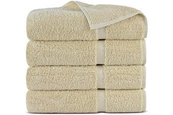 (Bath Towels - Set of 4, Beige) - Indulge Linen 100% Cotton Turkish Towel Set (Beige, Bath Towels - Set of 4)