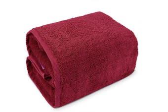 (Bath Sheet (100cm  x 200cm ) - Set of 1, Cranberry) - Indulge Linen 100% Turkish Cotton Towel Set (Cranberry, Bath Sheet (100cm x 200cm ) - Set of 1)