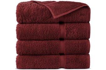 (Bath Towels - Set of 4, Cranberry) - Indulge Linen 100% Cotton Turkish Towel Set (Cranberry, Bath Towels - Set of 4)