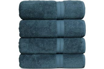 (Bath Towels, True Blue) - Luxury Premium Turkish Cotton 4-Piece Bath Towels, Long-Stable 20/2, 2 Ply Turkish Ring-Spun Cotton Yarn Makes The Luxe-Factor, Eco-Friendly, (True Blue)