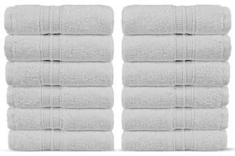 (Washcloths, White) - Luxury Premium Turkish Cotton 12-Piece Washcloths, Long-Stable 20/2, 2 Ply Turkish Ring-Spun Cotton Yarn Makes The Luxe-Factor, Eco-Friendly, (White)
