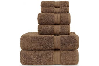 (6-Piece Towels, Cocoa) - Luxury Premium Turkish Cotton 6-Piece Towel Set, Long-Stable 20/2, 2 Ply Turkish Ring-Spun Cotton Yarn Makes The Luxe-Factor, Eco-Friendly, (Cocoa)