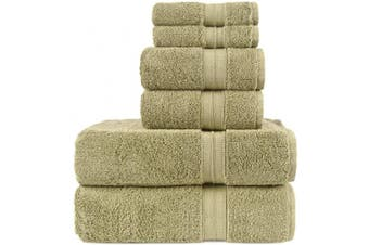 (6-Piece Towels, Driftwood) - Luxury Premium Turkish Cotton 6-Piece Towel Set, Long-Stable 20/2, 2 Ply Turkish Ring-Spun Cotton Yarn Makes The Luxe-Factor, Eco-Friendly, (Driftwood)