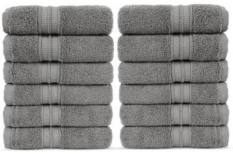 (Washcloths, Gray) - Luxury Premium Turkish Cotton 12-Piece Washcloths, Long-Stable 20/2, 2 Ply Turkish Ring-Spun Cotton Yarn Makes The Luxe-Factor, Eco-Friendly, (Grey)
