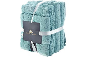 (6 pcs Towel Set, Aqua Green) - Bagno Milano Jacquard Luxury Turkish Towels,%100 Turkish Cotton Quick Dry Super Soft and Absorbent Plush Towels, Made in Turkey (Aqua Green, 6 pcs Towel Set)