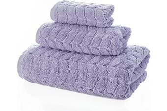 (3 pcs Towel Set, Lavender) - Bagno Milano Jacquard Luxury Turkish Towels,%100 Turkish Cotton Quick Dry Super Soft and Absorbent Plush Towels, Made in Turkey (Lavender, 3 pcs Towel Set)