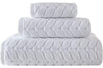 (3 pcs Towel Set, White) - Bagno Milano Jacquard Luxury Turkish Towels,%100 Turkish Cotton Quick Dry Super Soft and Absorbent Plush Towels, Made in Turkey (White, 3 pcs Towel Set)