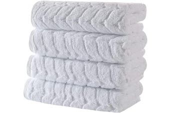 (4 Pcs Hand Towel Set, White) - Bagno Milano Jacquard Luxury Turkish Towels -%100 Turkish Cotton Quick Dry Super Soft and Absorbent Plush Towels, Made in Turkey (White, 4 Pcs Hand Towel Set)