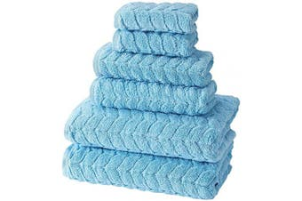 (6 pcs Towel Set, Sky Blue) - Bagno Milano Jacquard Luxury Turkish Towels,%100 Turkish Cotton Quick Dry Super Soft and Absorbent Plush Towels, Made in Turkey (Sky Blue, 6 pcs Towel Set)