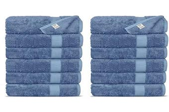 (Washcloths, Wedgewood) - Chakir Turkish Linens Luxury Ultra Soft Bamboo 12-Piece Washcloths - Soft, Absorbent and Eco-Friendly (Wedgewood)