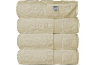 (Bath Towels, Beige) - Chakir Turkish Linens Luxury Ultra Soft Bamboo 4-Piece Bath Towel Set - Soft, Absorbent and Eco-Friendly (Beige)